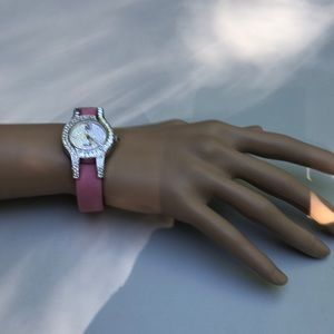 Victoria Wieck Crystal & pink leather watch